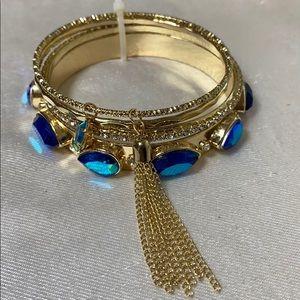New chameleon stone golden tassel bracelet set